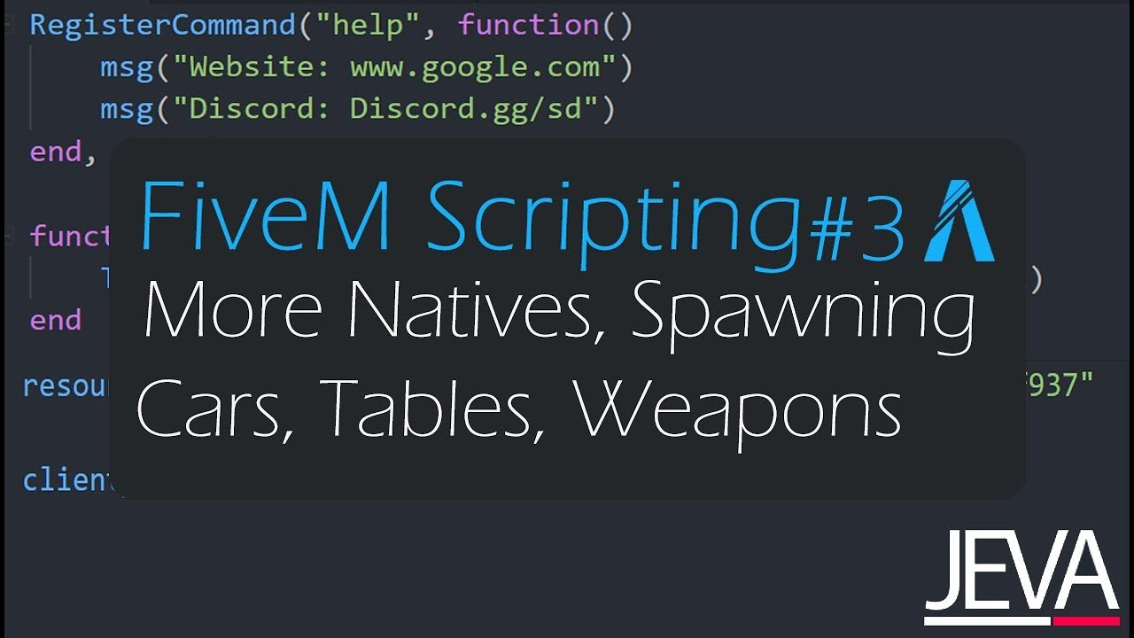 FiveM Scripting 3 - More Natives, Spawning Cars, Tables, and Weapon  Attachments (Lua)