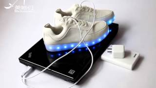 how to charge this led shoes, pls check the video