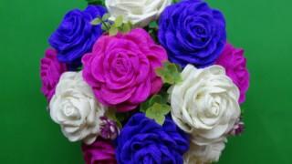 Hướng dẫn làm hoa hồng từ giấy nhún kiểu xoắn