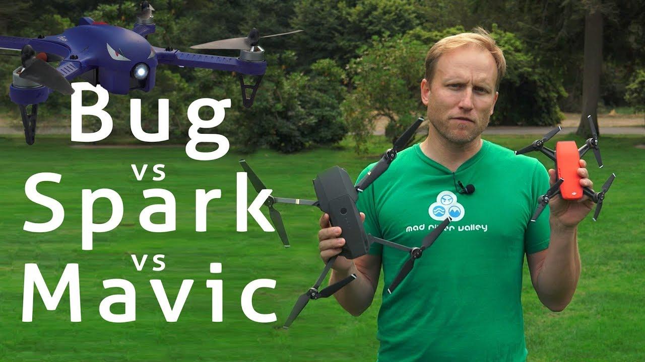 DJI Spark vs DJI Mavic vs Super Cheap Bug 3 $130 Drone - YouTube