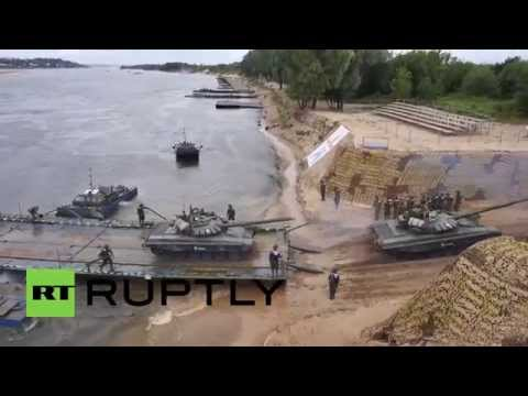 Russia: Drone shows tanks ferrying across water at International Army Games-2015