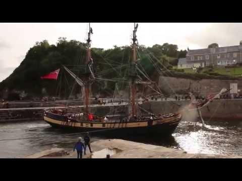 Tall Ship Pheonix entering Charlestown Harbour, Cornwall, UK