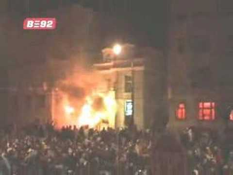 Belgrade Serbia : Serbs Mob burn USA Embassy - One Dead