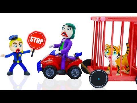 SUPERHERO POLICE STOPS WILD TIGER CAPTURE 💖 Play Doh Cartoons For Kids