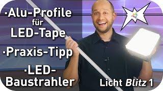Lichtblitz - Alu-Profile für LED-Tape - LED-Baustrahler - Praxis-Tipp Dosenklemme