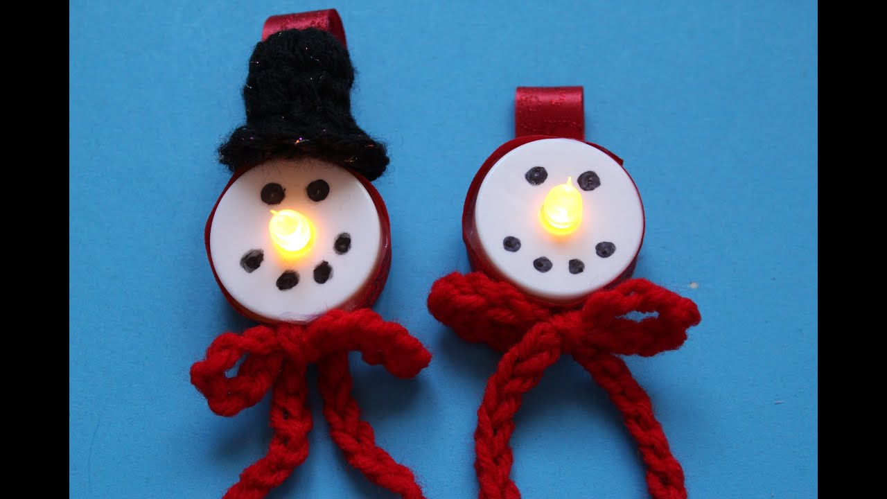 How to make Snowman LED Tealight Christmas ornament with Crochet hat ...