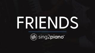 FRIENDS Piano Karaoke Instrumental Marshmello Anne Marie