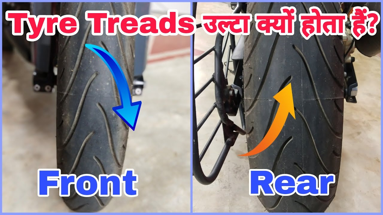 Why Do Motorcycle Front & Rear Tyres Have Opposite Tread Patterns? | Why Arrow Given On Tyres?