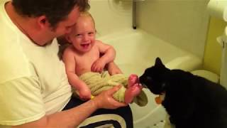 funny videos   The Cat Is Hungry for Baby Toes   Cat Licking Baby Toes