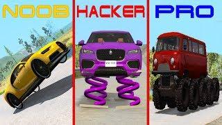 NOOB vs PRO vs HACKER crashes #15 - Beamng drive