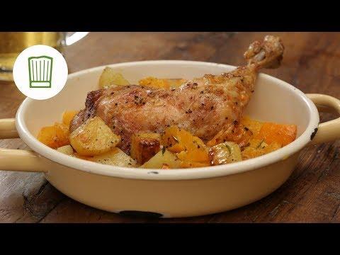 Kürbis mit Kartoffeln und Hähnchenschenkeln aus dem Ofen   Chefkoch.de