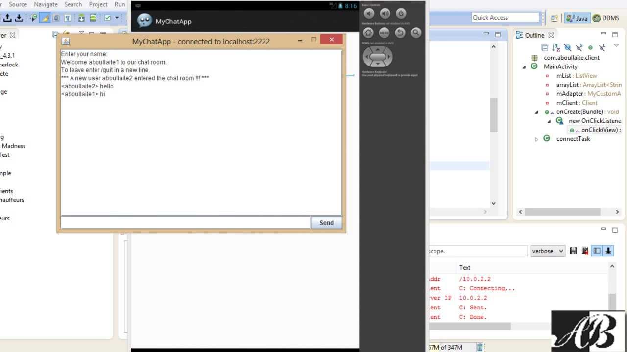 Multi-Client Server chat application using java swing & Android
