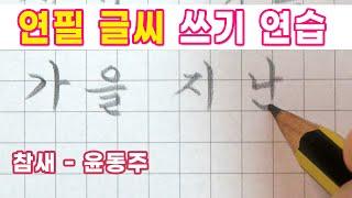 연필 글씨 쓰기 연습 - 참새, 윤동주