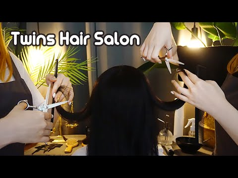 ASMR Twins Hair Salon👭✂ Haircut, Dyeing, Shampoo, Brushing, Spray
