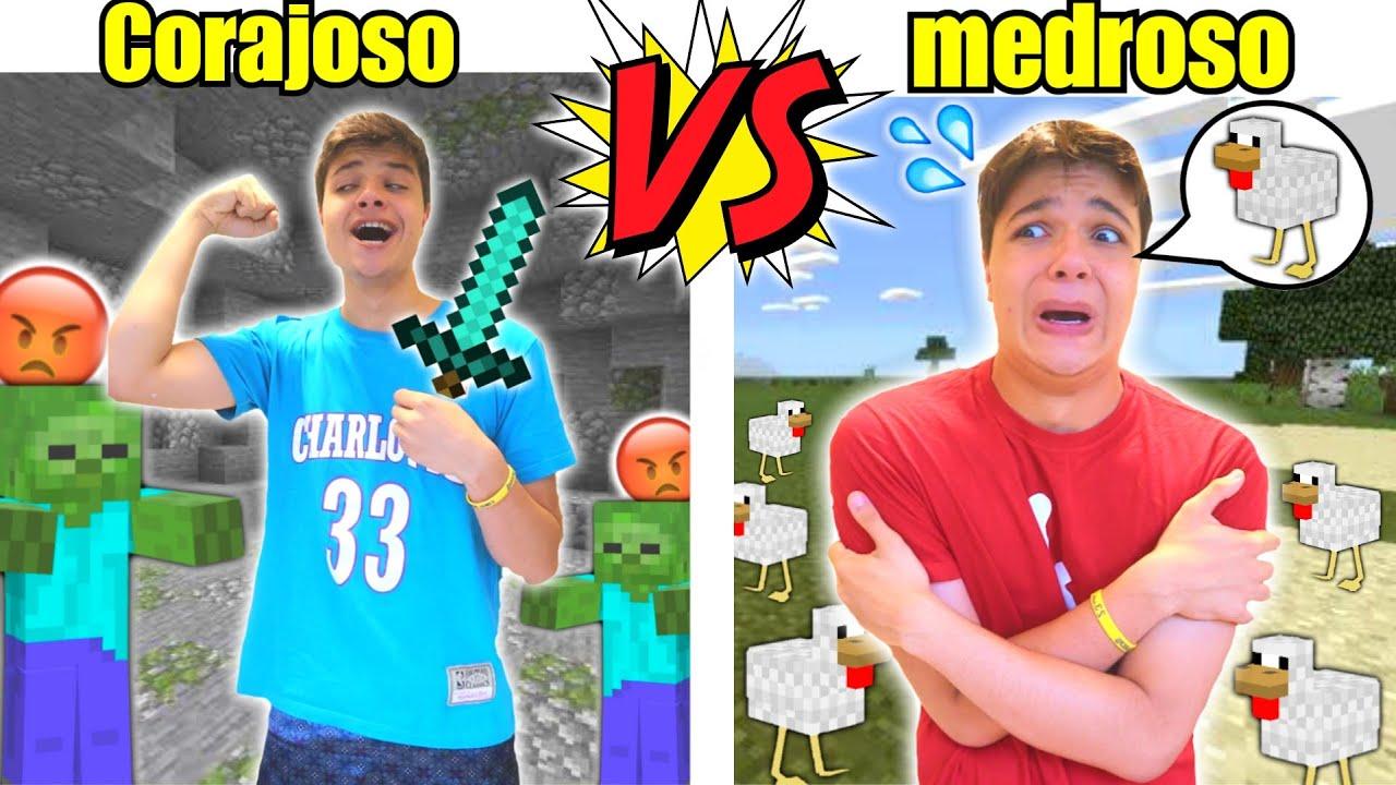 CORAJOSO VS MEDROSO NO MINECRAFT ! - Caio Faria