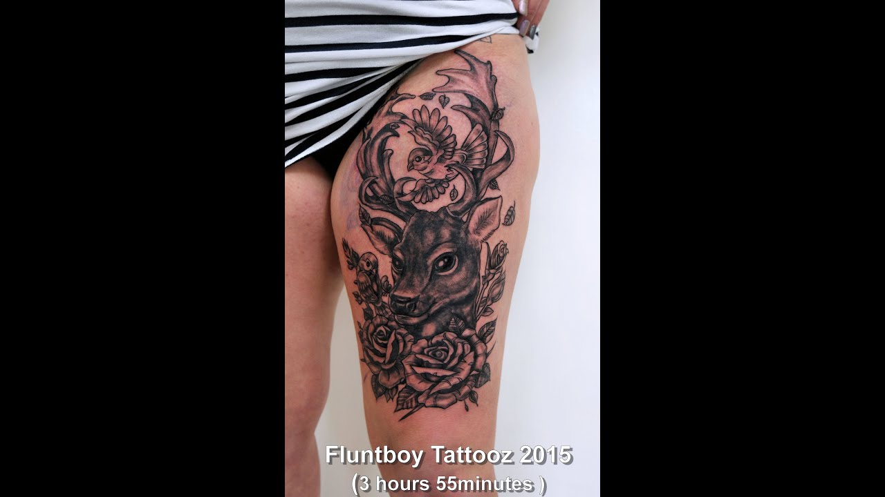 Josie\'s Fellow deer & Rose thigh tattoo by Fluntboy (tattoo time ...