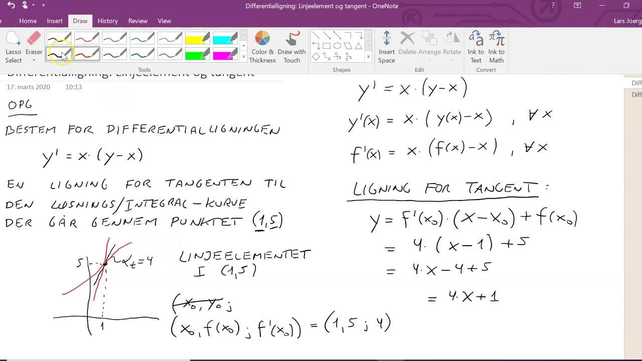 Differentialligning: Linjeelement og tangentligning