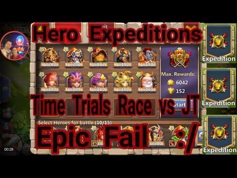 Hero Expeditions Time Trial Race VS JT Epic Fail Castle Clash