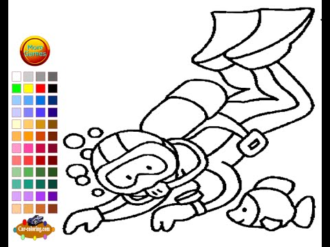 - Scuba Diver Coloring Pages For Kids - Scuba Diver Coloring Pages - YouTube