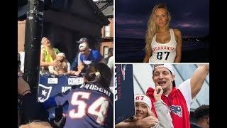 Rob Gronkowski plays with girlfriend Camille Kostek's boobs at Patriots' Super Bowl bus