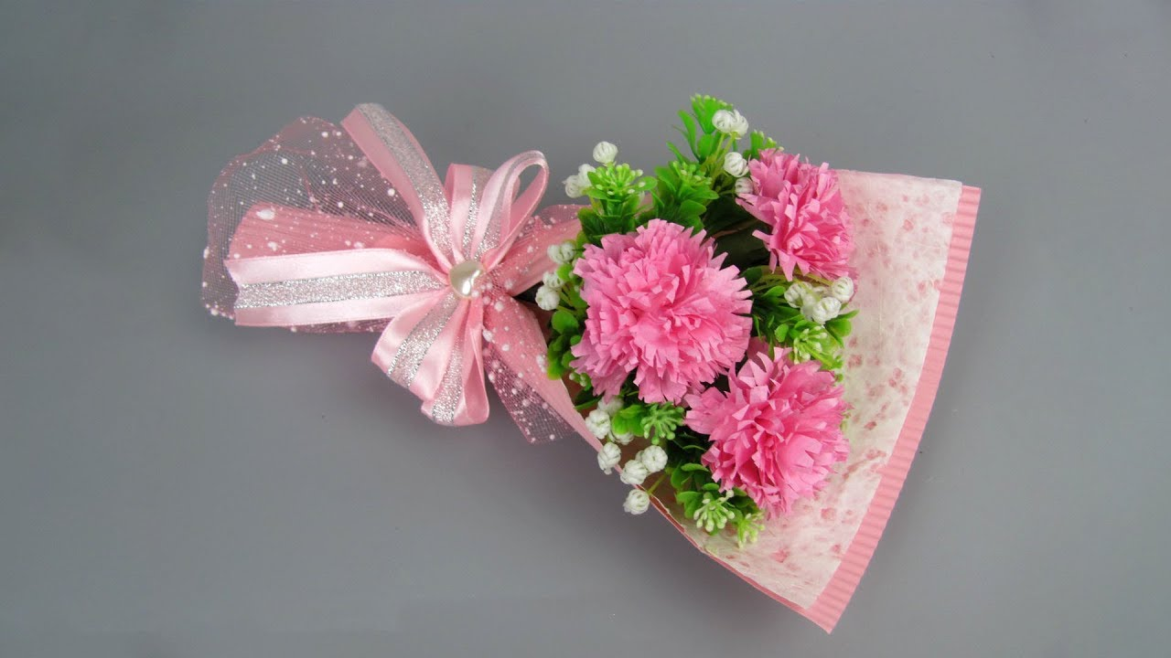 Mother S Day Gifts Diy Paper Flower Bouquet Carnation Flower Wrapping Techniques Arrangement