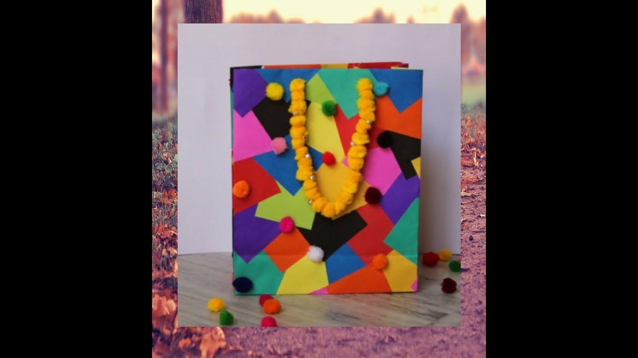 Diy Crafts Paper Bag Easy With Pom Pom Decoration Paper Crafts