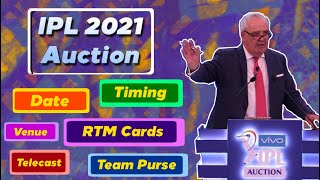 IPL 2021 - Auction Details With Date,Timing, RTM Card, Venue After IPL 2020 | MY Cricket Production