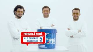 Noua campanie SPOR Formula nouă, alb generos rezistent 5 ani. Aprilie 2017.