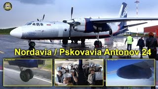 Nordavia (Pskovavia) Antonov 24 Murmansk-Archangelsk, midsummer night [AirClips full flight series]