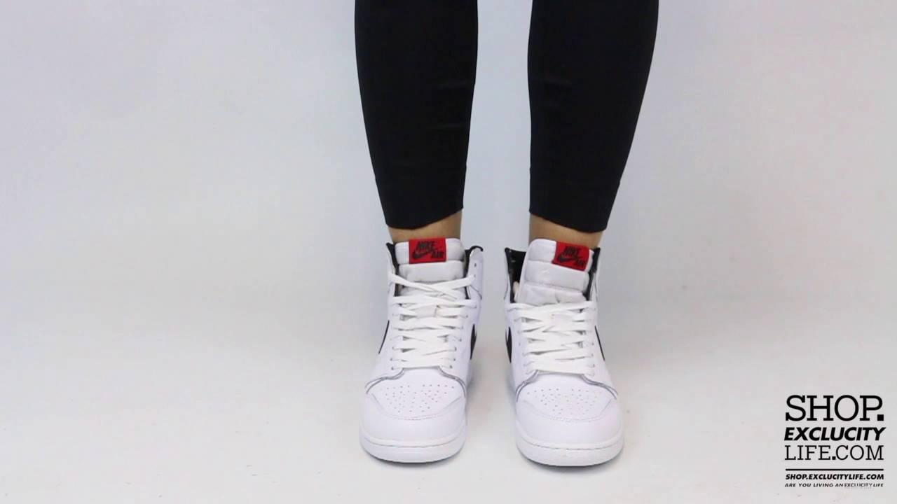 Women s Air Jordan 1 High Retro Premium Essentials White Black On feet  Video at Exclucity a075d507a2