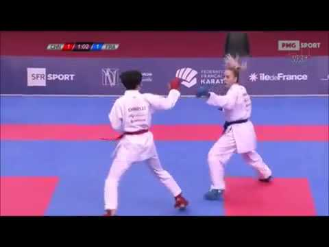 Xiaoyan Yin Vs Gwendoline Phillipe - Karate 1 World Premier League Paris 2018