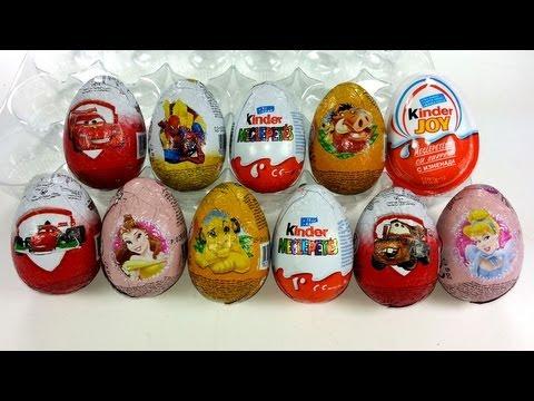 11 Surprise Chocholate Eggs Unboxing, Zaini Eggs, Kinder Surprise, Cars 2, Kinder Joy...
