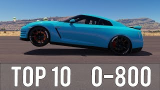 Forza Horizon 3 - TOP 10 FASTEST 0-800 CARS! CRAZY ACCELERATIONS!
