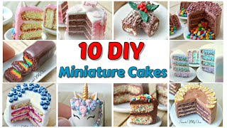 10 DIY Miniature Dolls House Cakes - Tutorial Video Compilation