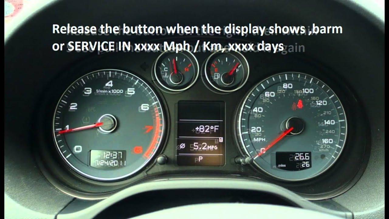 How To Reset Service Light Indicator Audi A3 2003 2009