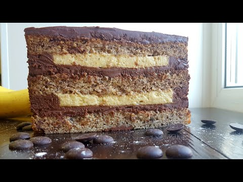 """Торт """"Банан в шоколаде""""🍫шоколадно-сметанный крем🍌Chocolate Banana cake"""