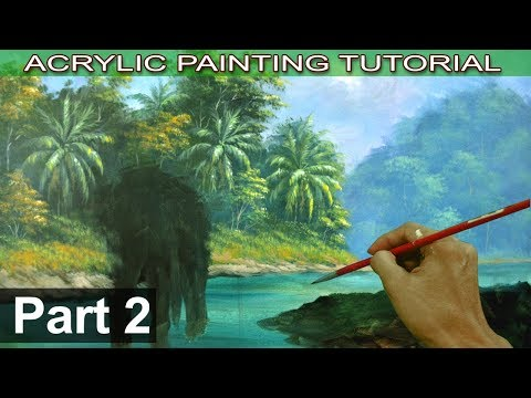 Acrylic Landscape Painting Tutorial Tropical Forest with Elephant | Forest and Palm Trees | Part 2