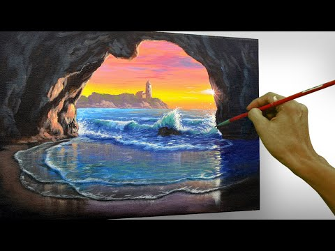 Step by Step Acrylic Painting Tutorial | Sunset on Beach Cave