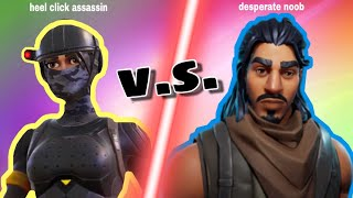 Heel Click Assassin v.s. Noob Skin | FORTNITE BATTLE ROYALE | Blue Broom