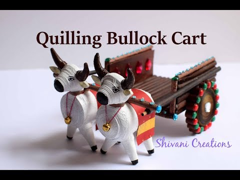 Quilling Bullock Cart/ Best from Waste/ Paper Bull Cart/ Miniature Quilling/ Quilling showpiece