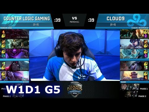 CLG vs Cloud 9 | Week 1 Day 1 of S8 NA LCS Spring 2018 | CLG vs C9 W1D1 G5