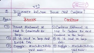Difference between break and continue statement   Break jump statement vs Continue jump  statement