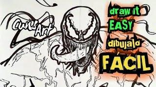 COMO DIBUJAR A VENOM 2018 | FACIL | how to draw venom 2018 | easy