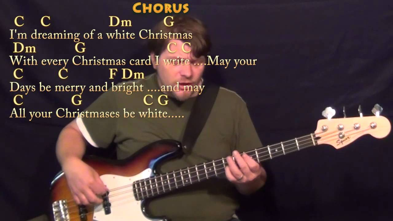 White Christmas Bass Guitar Cover Lesson In C With Chordslyrics