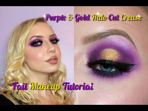 Playtime! Goddess Fall/Autumn Makeup | Purple & Gold Halo Cut Crease Tutorial ✨🌙 thumbnail