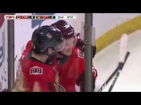 Rudolfs Balcers 1st NHL goal vs Hurricanes (06.01.2018)