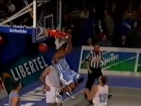 VC nice reverse dunk after miss by teammate vs Bulgaria 1998 College