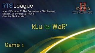 AoC S40, D4, R1 - kLu vs. WaR', Game 1 - Age of Empires II: The Conquerors Clan League Season 40