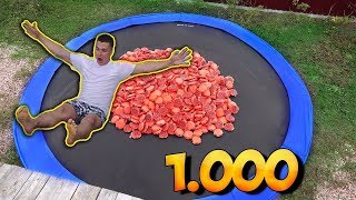 TRAMPOLINE FILLED WITH 1000 MEGA WHOOPEE CUSHIONS