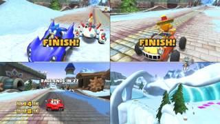 Sonic & Sega all Star Racing 3 player split screen madness
